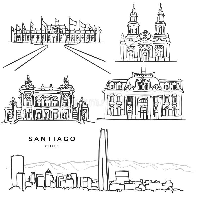 Συρμένα χέρι εικονίδια αρχιτεκτονικής του Σαντιάγο Χιλή διάσημα ελεύθερη απεικόνιση δικαιώματος