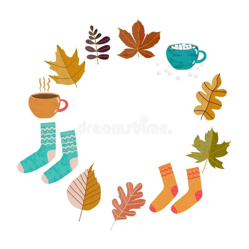 Συρμένα χέρι εικονίδια Hugge διακοπών εποχών φθινοπώρου doodle με τα φύλλα, φλυτζάνι του τσαγιού, κακάο, σοκολάτα, marshmallow, θ απεικόνιση αποθεμάτων