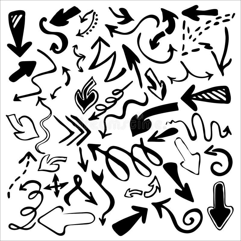 Συρμένα χέρι εικονίδια βελών καθορισμένα απομονωμένα στο άσπρο υπόβαθρο ελεύθερη απεικόνιση δικαιώματος