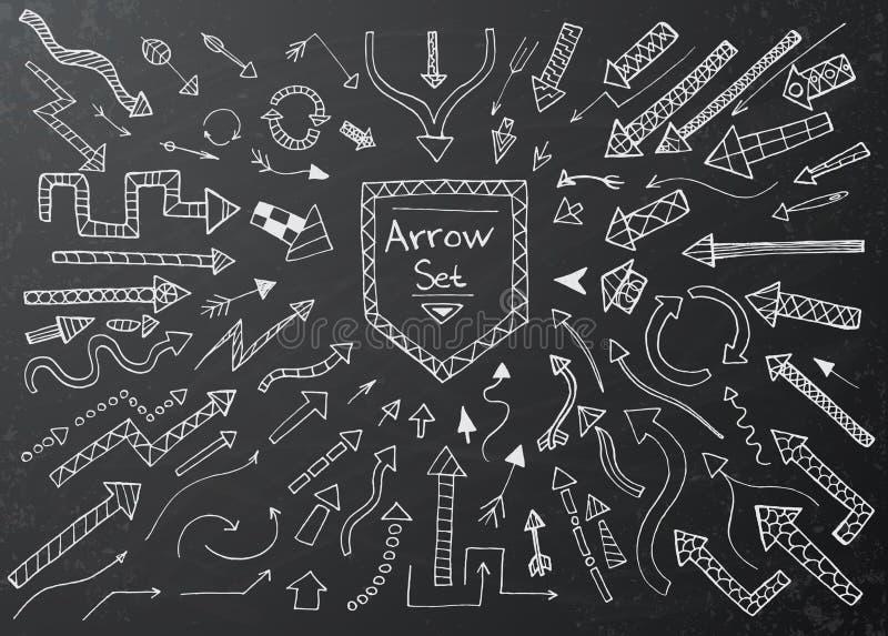 Συρμένα χέρι εικονίδια βελών που τίθενται στο μαύρο πίνακα κιμωλίας απεικόνιση αποθεμάτων