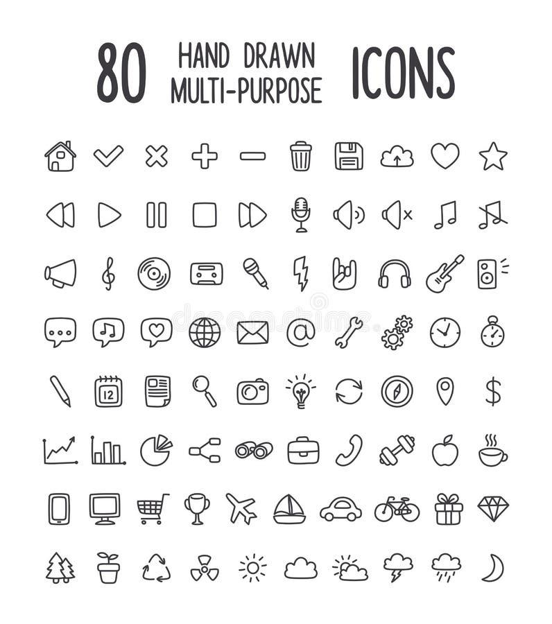 80 συρμένα χέρι εικονίδια απεικόνιση αποθεμάτων