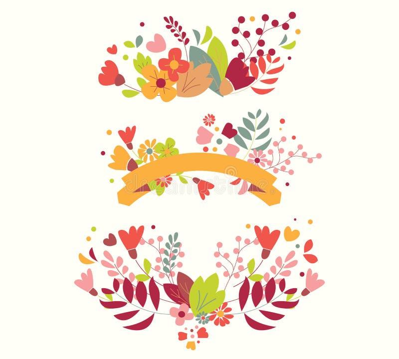 Συρμένα χέρι εκλεκτής ποιότητας λουλούδια και floral στοιχεία για τις διακοπές διανυσματική απεικόνιση
