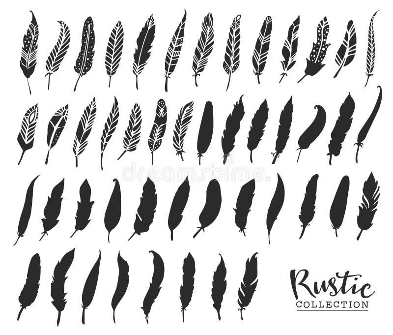 Συρμένα χέρι εκλεκτής ποιότητας φτερά Αγροτικό διακοσμητικό διανυσματικό σχέδιο διανυσματική απεικόνιση