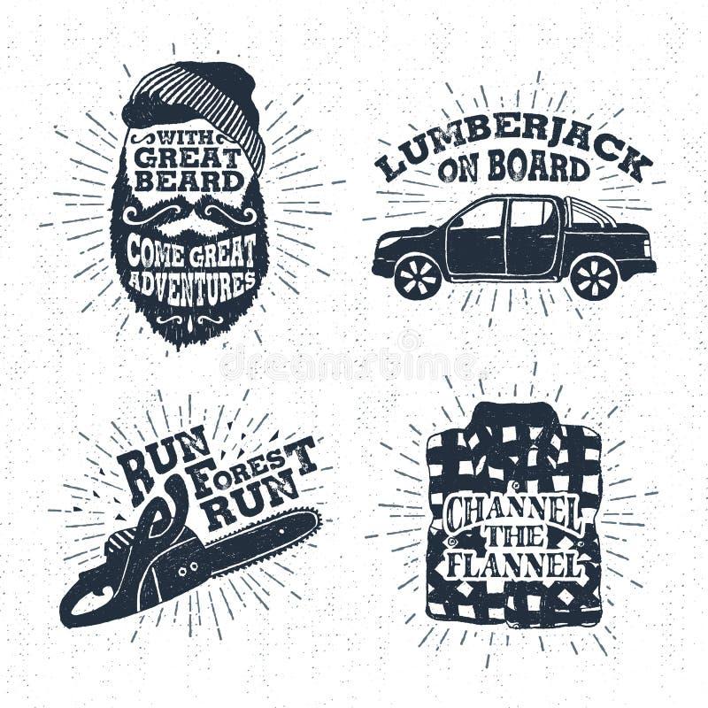 Συρμένα χέρι διακριτικά που τίθενται με το γενειοφόρες πρόσωπο, το ανοιχτό φορτηγό, το αλυσιδοπρίονο, και τις απεικονίσεις πουκάμ στοκ εικόνα