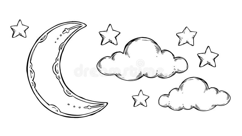 Συρμένα χέρι διανυσματικά στοιχεία - φεγγάρι ύπνου καληνύχτας, αστέρια, γ απεικόνιση αποθεμάτων