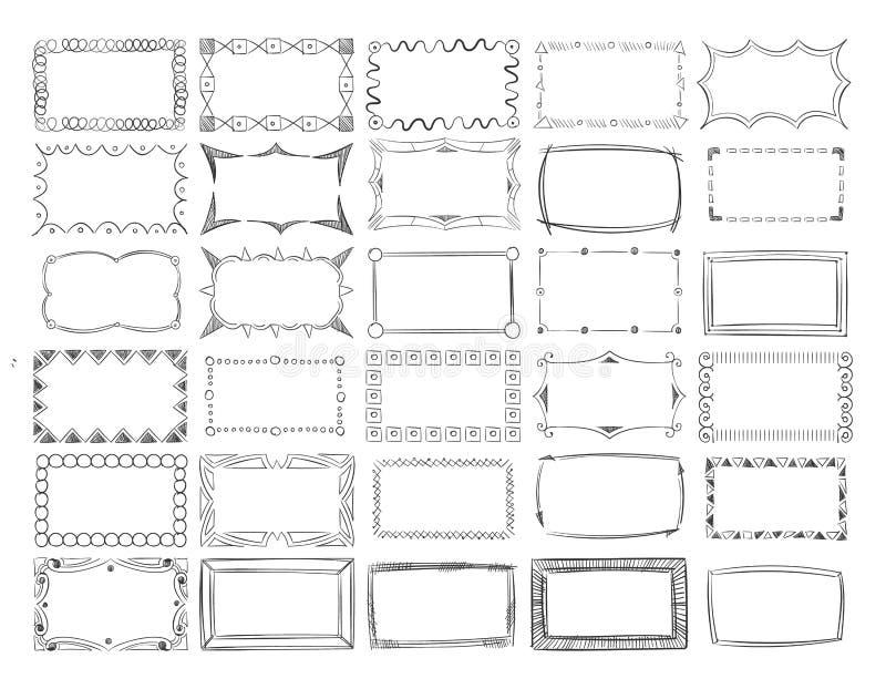 Συρμένα χέρι διανυσματικά σύνορα πλαισίων φωτογραφιών γραμμών καθορισμένα διανυσματική απεικόνιση