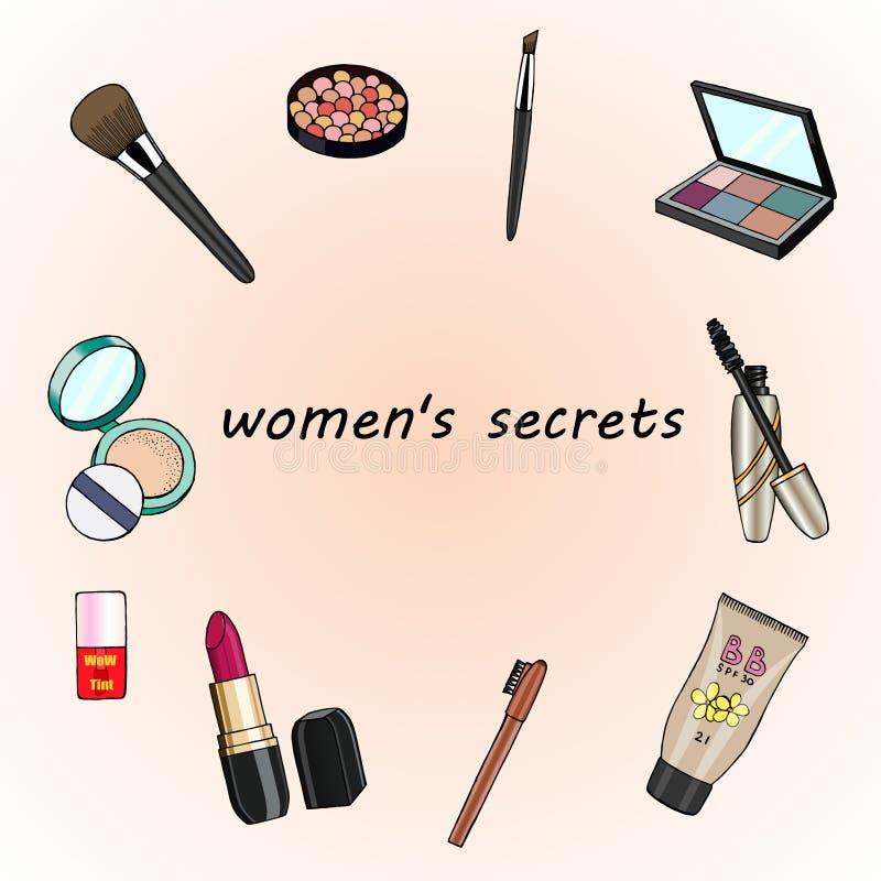 Συρμένα χέρι καλλυντικά καθορισμένα Μυστικά γυναικών ` s επίσης corel σύρετε το διάνυσμα απεικόνισης στοκ φωτογραφία με δικαίωμα ελεύθερης χρήσης