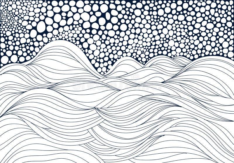 Συρμένα χέρι κύματα απεικόνιση αποθεμάτων
