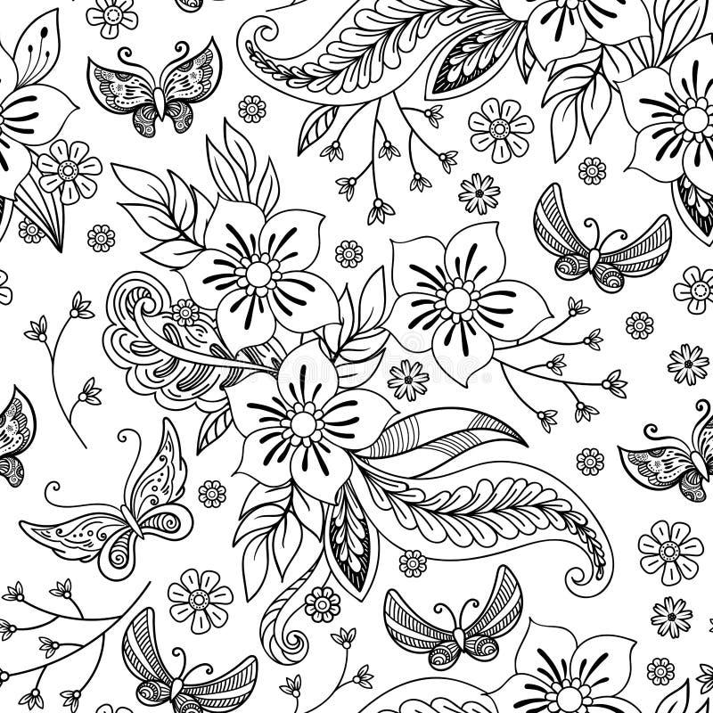 Συρμένα χέρι λουλούδια και υπόβαθρο πεταλούδων ελεύθερη απεικόνιση δικαιώματος