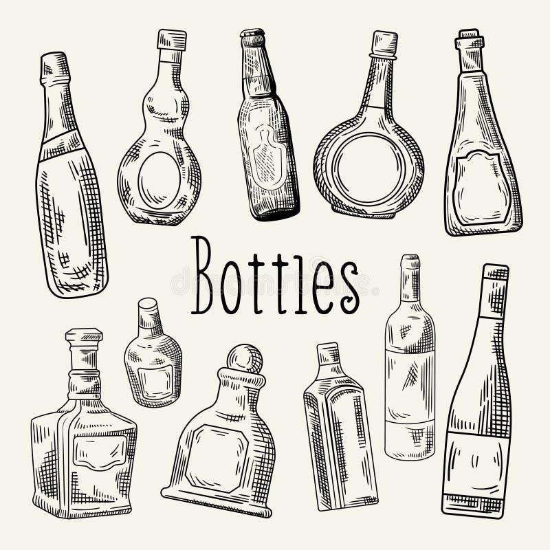 Συρμένα χέρι μπουκάλια Doodle Κρασί, σκίτσο μπουκαλιών κονιάκ διανυσματική απεικόνιση