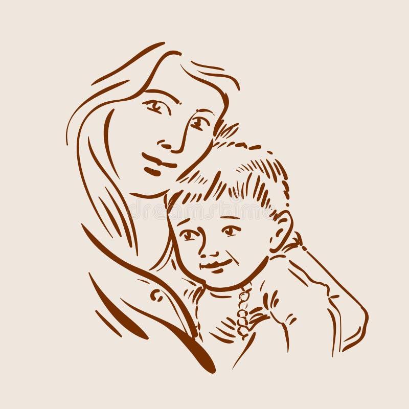 Συρμένα χέρι νέα μητέρα και παιδί σκίτσων διάνυσμα απεικόνιση αποθεμάτων