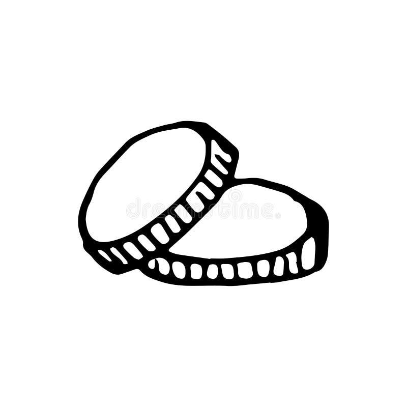 Συρμένα χέρι νομίσματα doodle Εικονίδιο ύφους σκίτσων Στοιχείο διακοσμήσεων στοκ εικόνες με δικαίωμα ελεύθερης χρήσης