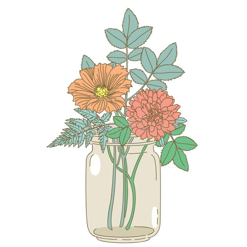Συρμένα χέρι λουλούδια σε ένα βάζο κτιστών απεικόνιση αποθεμάτων