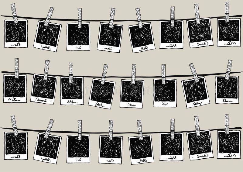 Συρμένα χέρι παλαιά πλαίσια φωτογραφιών ύφους εκλεκτής ποιότητας που κρεμούν στα σχοινιά απεικόνιση αποθεμάτων