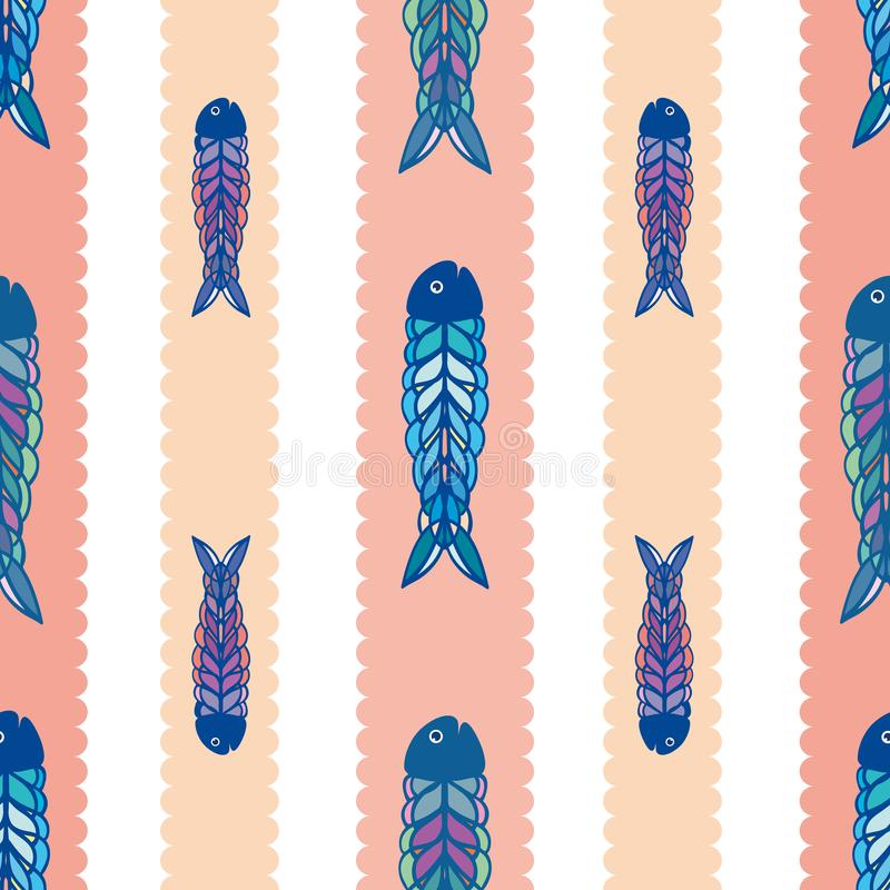 Συρμένα χέρι πολύχρωμα ψάρια στο γεωμετρικό λαϊκό ύφος τέχνης Άνευ ραφής διανυσματικό σχέδιο στο άσπρο υπόβαθρο με το μαγειρευμέν απεικόνιση αποθεμάτων