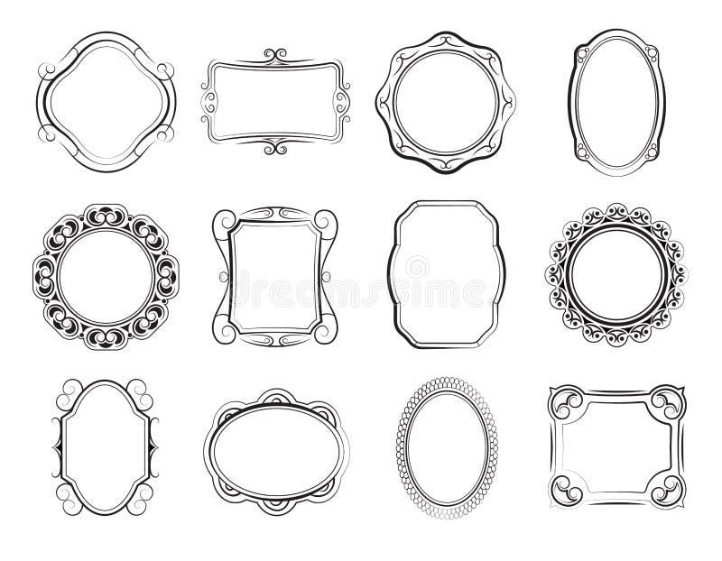 Συρμένα χέρι πλαίσια τετραγώνων και φωτογραφιών, κενά βικτοριανά σύνορα εικόνων doodle, παλαιό κιβώτιο για το διανυσματικό σύνολο διανυσματική απεικόνιση