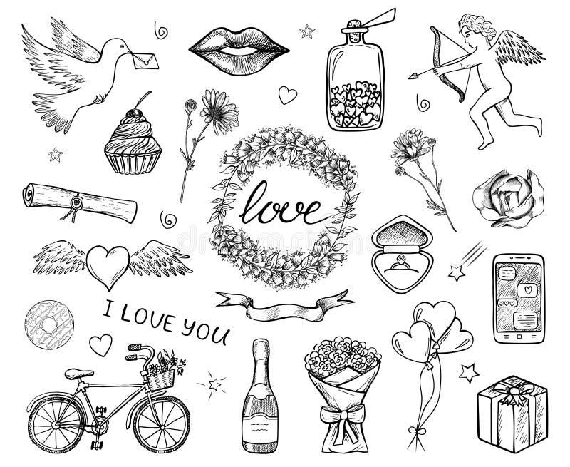 Συρμένα χέρι σκιαγραφημένα εικονίδια της αγάπης, ημέρα του βαλεντίνου Αγίου, γάμος διανυσματική απεικόνιση
