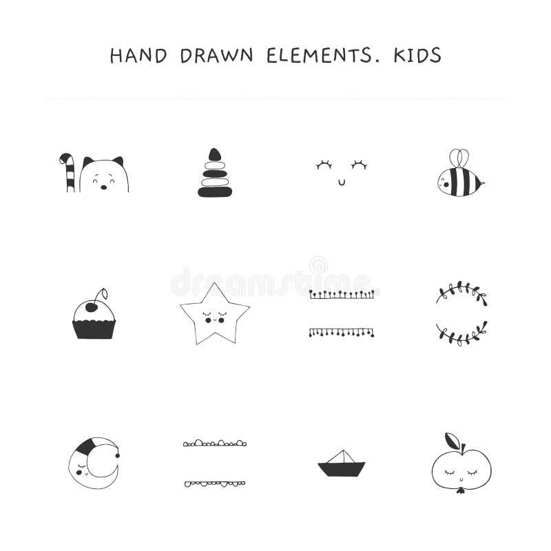 Συρμένα χέρι στοιχεία για σχετικές με τις τα παιδιά επιχειρήσεις Διανυσματικό σύνολο απεικονίσεων απεικόνιση αποθεμάτων