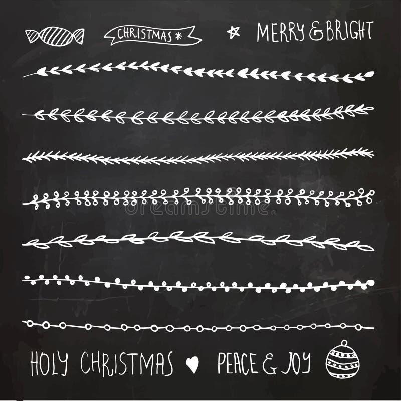 Συρμένα χέρι στοιχεία, Doodles και σύνορα Χριστουγέννων διακοσμητικά διανυσματική απεικόνιση