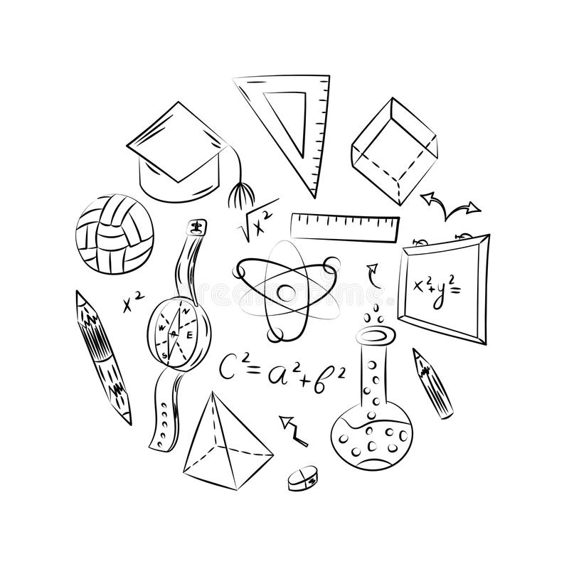 Συρμένα χέρι σχολικά σύμβολα Σχέδια παιδιών της σφαίρας, βιβλία, μολύβια, κυβερνήτες, φιάλη, πυξίδα, βέλη που τακτοποιούνται σε έ απεικόνιση αποθεμάτων