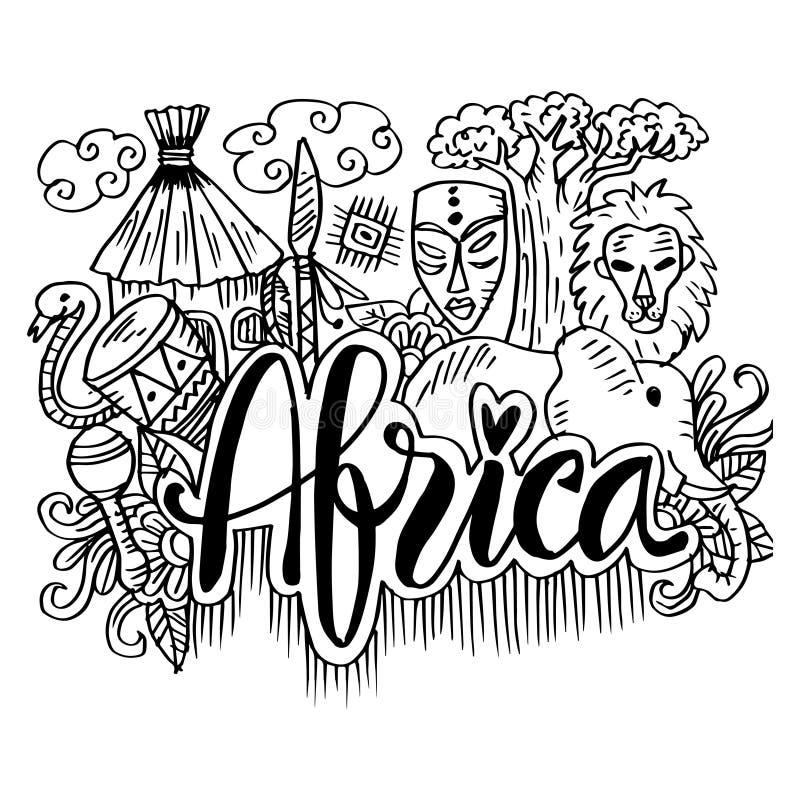 Συρμένα χέρι σύμβολα της Αφρικής ελεύθερη απεικόνιση δικαιώματος