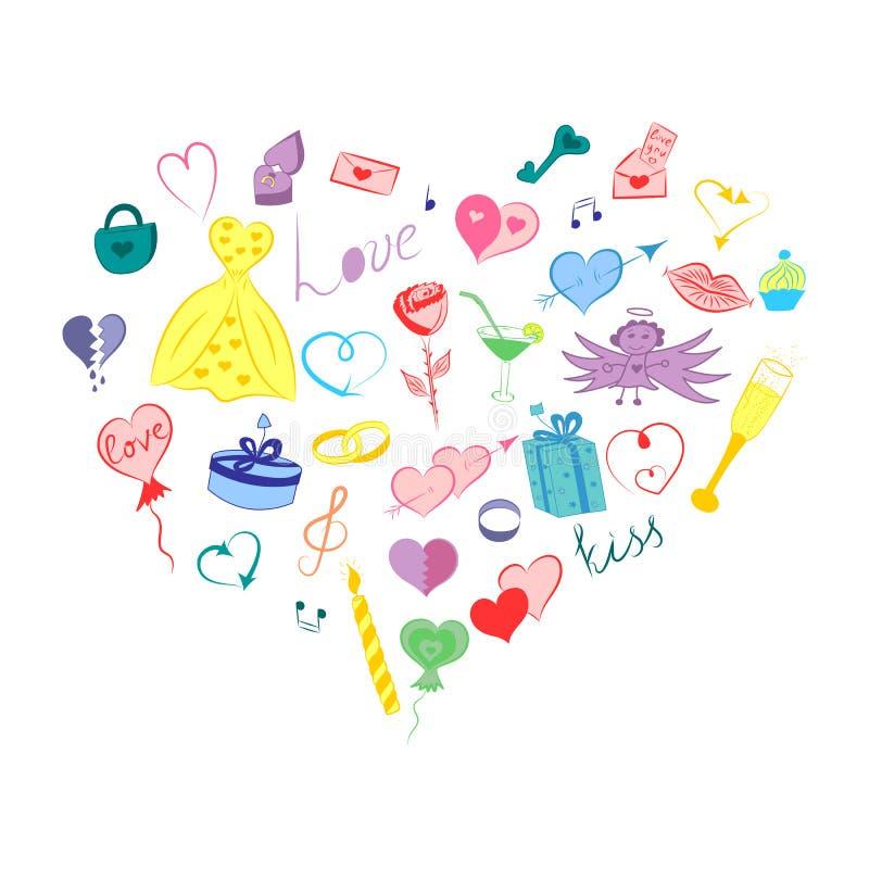 Συρμένα χέρι σύμβολα ημέρας βαλεντίνων Χαριτωμένα Doodle σχέδια παιδιών ` s των ζωηρόχρωμων καρδιών, δώρα, RingsArranged σε μια μ απεικόνιση αποθεμάτων