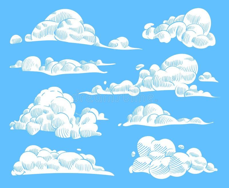 Συρμένα χέρι σύννεφα Ο νεφελώδης ουρανός σκίτσων, τρύγος χάραξε το κατσαρωμένο σύννεφο Ουρανός φύσης Doodle, καιρικά σύμβολα περι διανυσματική απεικόνιση