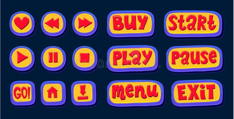 Συρμένα χέρι τρισδιάστατα κουμπιά Ιστού για το φορέα Όπως, ξανατυλίξτε, παίξτε, σταματήστε, σταματήστε καθορισμένο χρώμα κουμπιών διανυσματική απεικόνιση