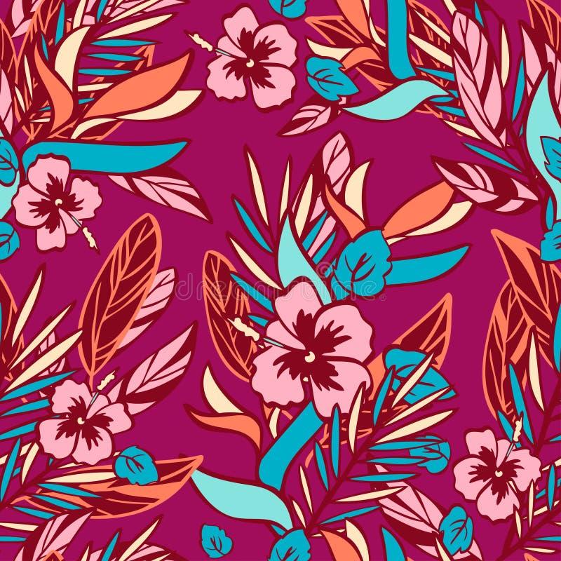 Συρμένα χέρι τροπικά εγκαταστάσεις και λουλούδια στο ύφος doodle στο καφέ υπόβαθρο διανυσματική απεικόνιση