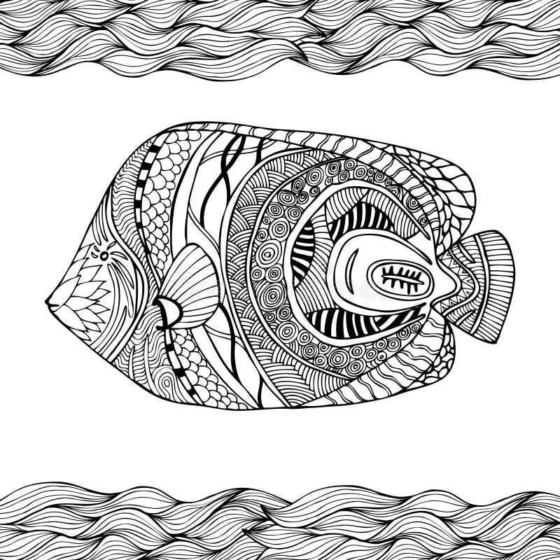 Συρμένα χέρι τυποποιημένα ψάρια με το doodle, zentangle, floral, τρύγος ελεύθερη απεικόνιση δικαιώματος