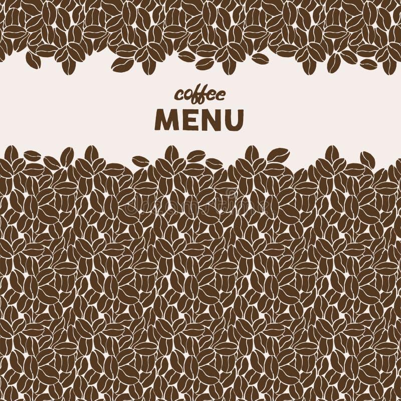 Συρμένα χέρι φασόλια καφέ πρότυπο άνευ ραφής Τυποποιημένες γράφοντας επιλογές καφέ Hipster ελεύθερη απεικόνιση δικαιώματος