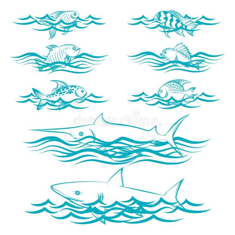 Συρμένα χέρι ψάρια στα κύματα διανυσματική απεικόνιση