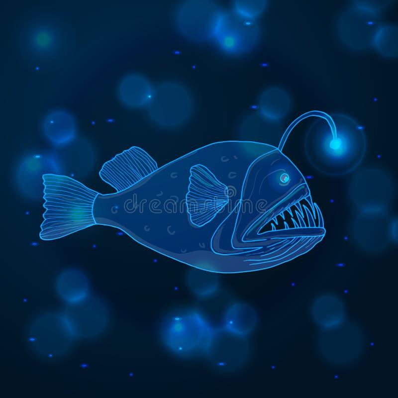 Συρμένα χέρι ψάρια ψαράδων σκίτσων, θαλάσσια ζώα στοκ φωτογραφία με δικαίωμα ελεύθερης χρήσης