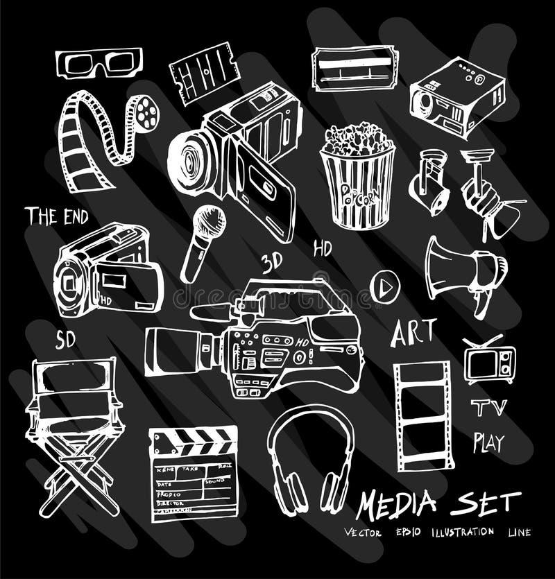 Συρμένα χέρι doodle μέσα που τίθενται διανυσματικά στον πίνακα κιμωλίας eps10 διανυσματική απεικόνιση