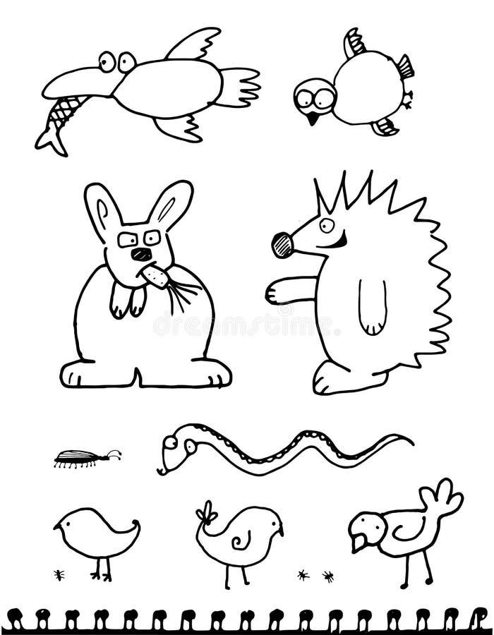 Συρμένα χέρι doodle περίεργα παράξενα αστεία ζώα που απομονώνονται ελεύθερη απεικόνιση δικαιώματος