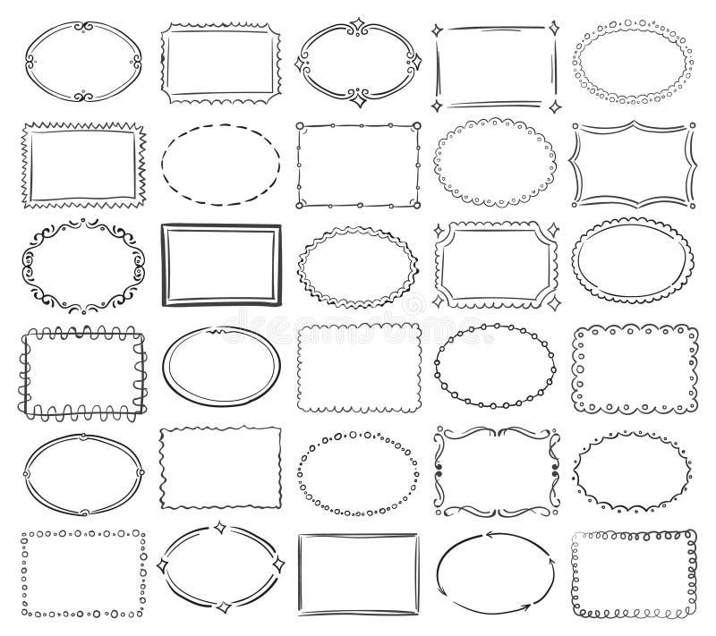 Συρμένα χέρι doodle στρογγυλά και τετραγωνικά διανυσματικά πλαίσια συνόρων εικόνων διανυσματική απεικόνιση