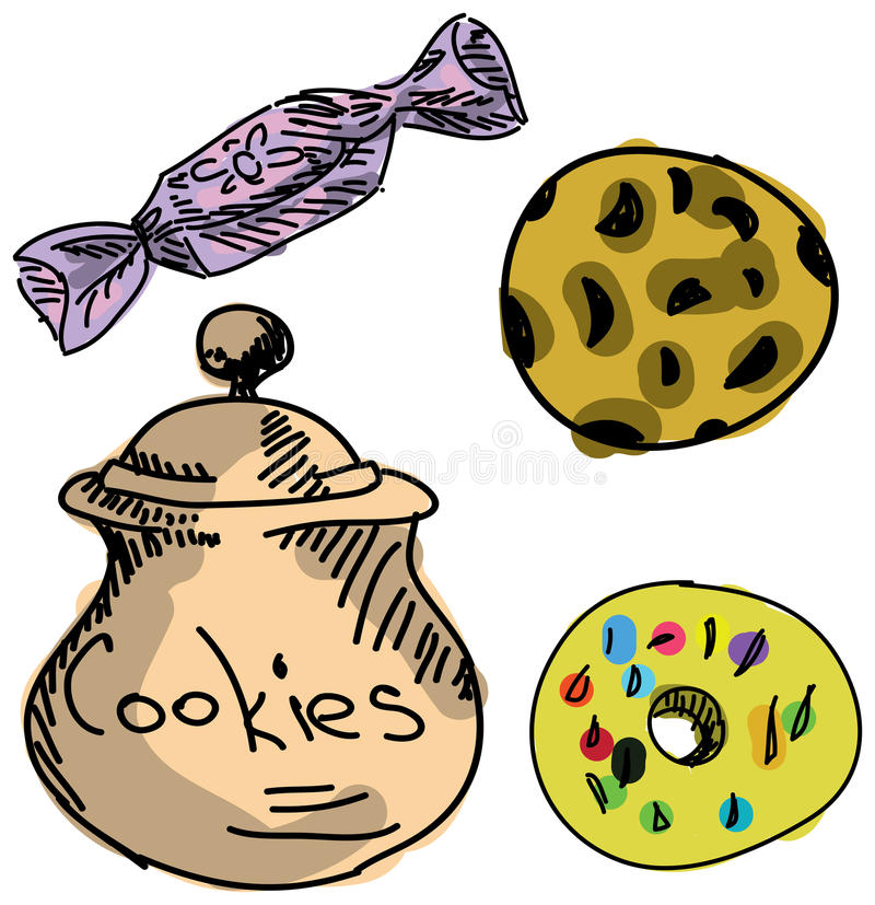Συρμένα χρωματισμένα μπισκότα ελεύθερη απεικόνιση δικαιώματος