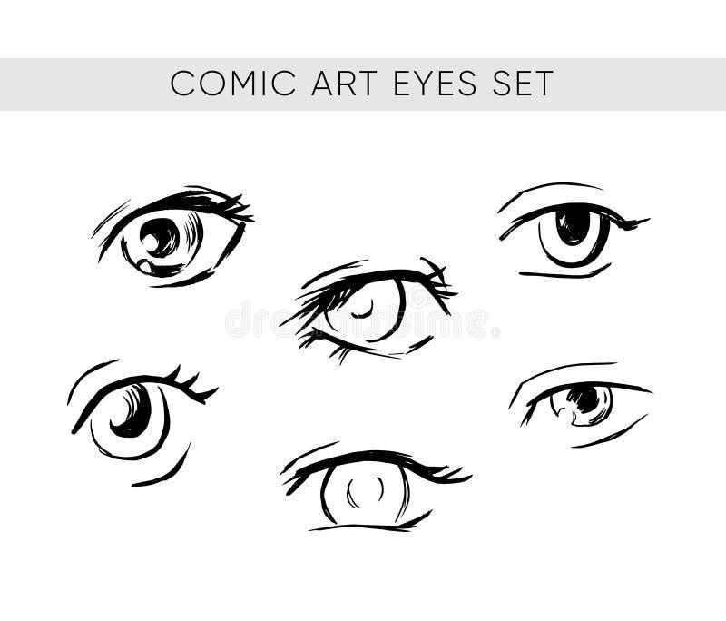 Συρμένα ύφος μάτια Comics καθορισμένα διανυσματικά διανυσματική απεικόνιση