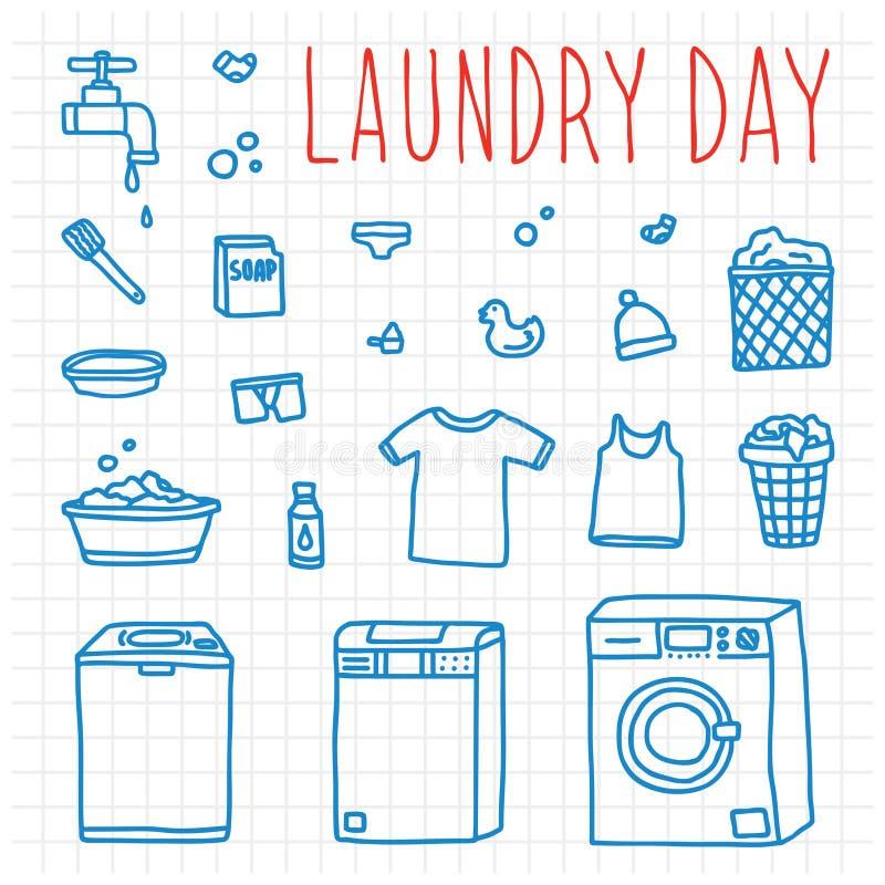 Συρμένα doodle χέρι διανυσματικά αντικείμενα ημέρας πλυντηρίων ελεύθερη απεικόνιση δικαιώματος