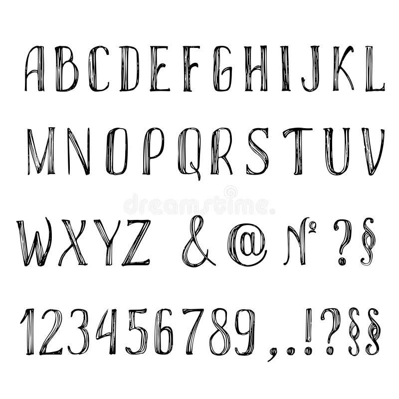 συρμένες επιστολές χερ&iota Διανυσματικό αλφάβητο, σημεία στίξης, αριθμοί στο άσπρο υπόβαθρο ελεύθερη απεικόνιση δικαιώματος