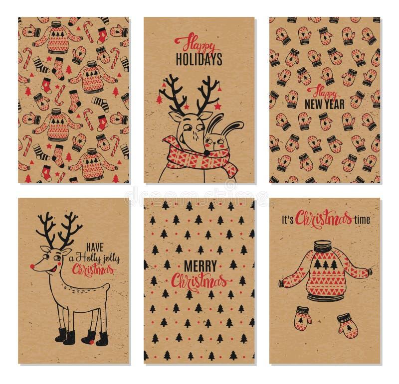 Συρμένες διανυσματικές χέρι εκτυπώσιμες κάρτες Χριστουγέννων ελεύθερη απεικόνιση δικαιώματος