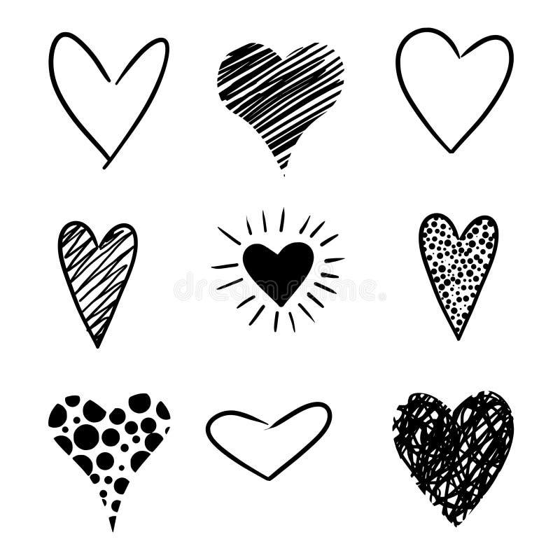 συρμένες καρδιές χεριών απεικόνιση αποθεμάτων