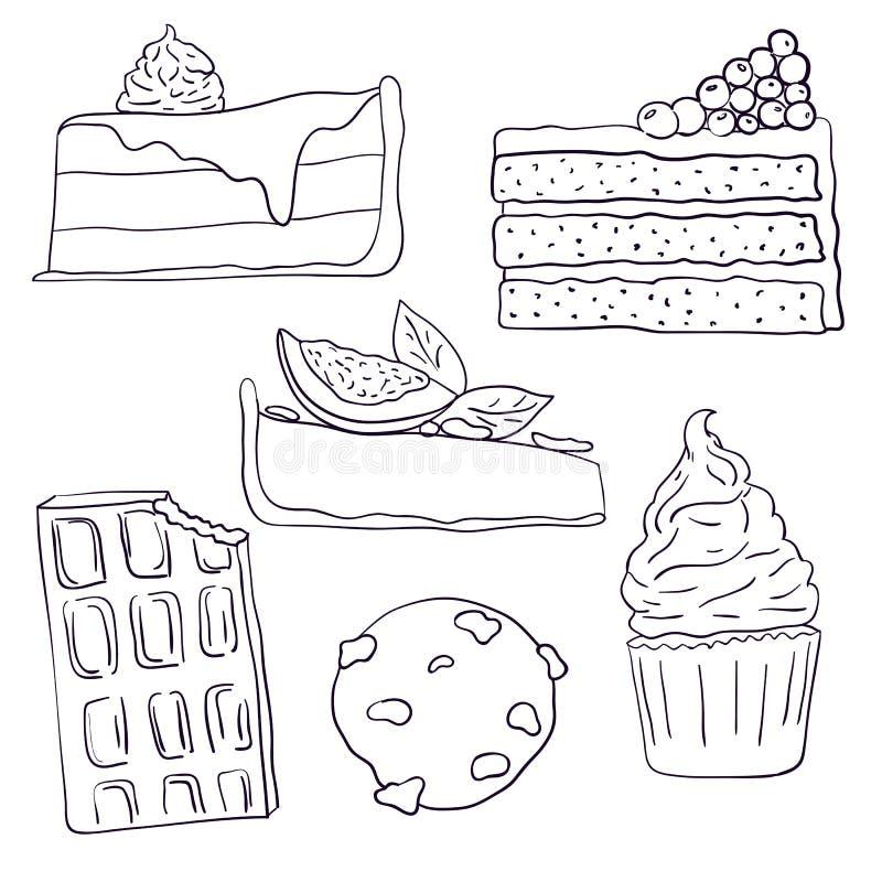 Συρμένες τις χέρι γλυκές φέτες κέικ καθορισμένες τη διανυσματική απεικόνιση Απεικόνιση Doodle Κομμάτια, σοκολάτα, cokie και γλυκά ελεύθερη απεικόνιση δικαιώματος