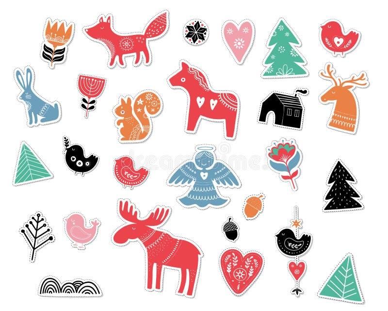 Συρμένες χέρι αυτοκόλλητες ετικέττες Χριστουγέννων στο σκανδιναβικό ύφος απεικόνιση αποθεμάτων