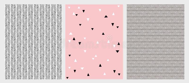 Συρμένες χέρι αφηρημένες γραμμές και διανυσματικά σχέδια τριγώνων καθορισμένα 3 διάφορο σχέδιο Ρόδινα, γκρίζα και μαύρα χρώματα διανυσματική απεικόνιση