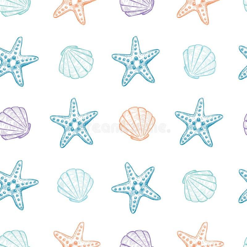 Συρμένες χέρι διανυσματικές απεικονίσεις - άνευ ραφής σχέδιο των θαλασσινών κοχυλιών απεικόνιση αποθεμάτων