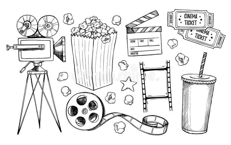 Συρμένες χέρι διανυσματικές απεικονίσεις - συλλογή κινηματογράφων κινηματογράφος διανυσματική απεικόνιση