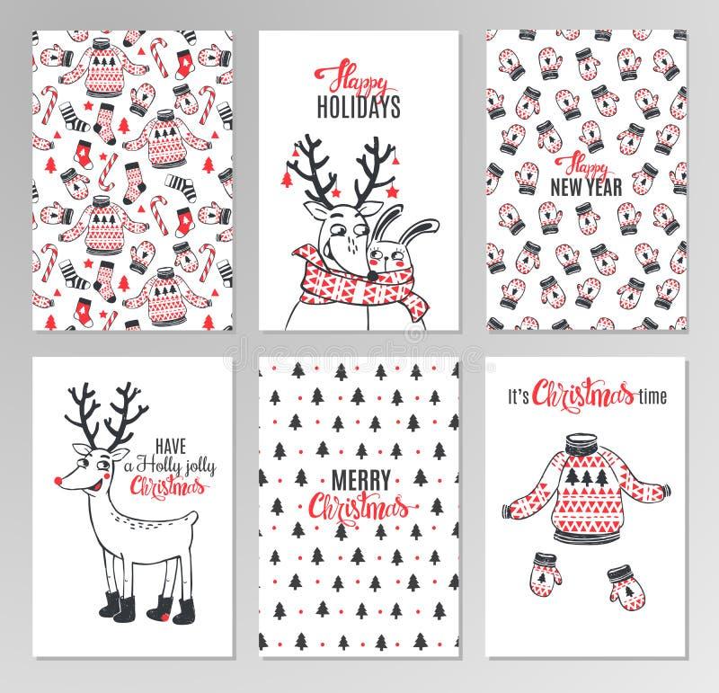 Συρμένες χέρι εκτυπώσιμες κάρτες Χριστουγέννων διανυσματική απεικόνιση