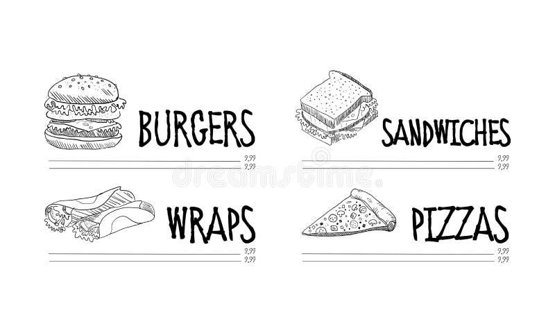 Συρμένες χέρι επιλογές του καφέ γρήγορου φαγητού Διανυσματική απεικόνιση σκίτσων νόστιμων burger, των περικαλυμμάτων, της φέτας σ διανυσματική απεικόνιση