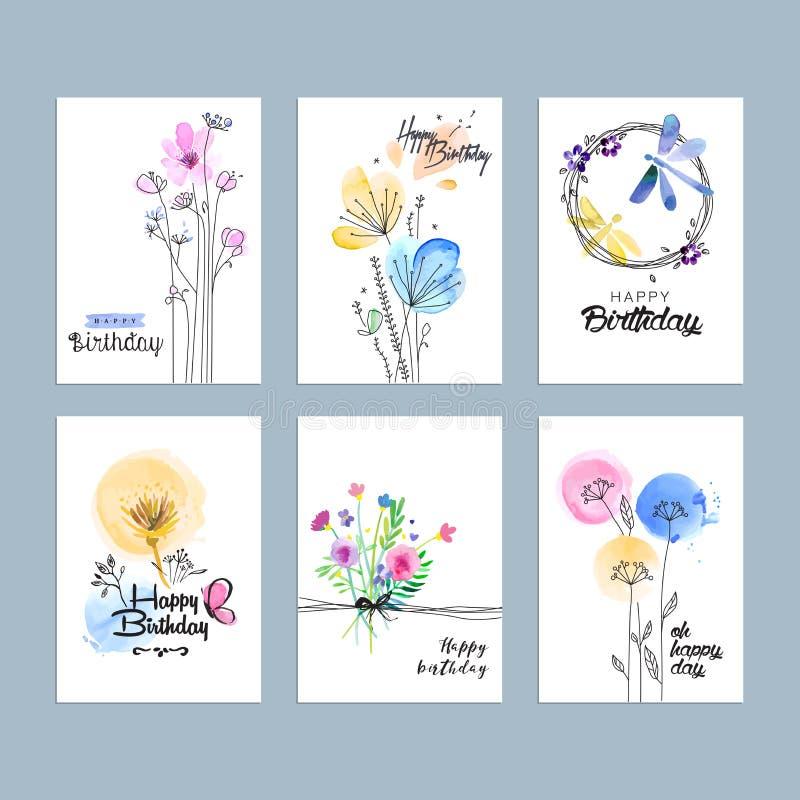 Συρμένες χέρι ευχετήριες κάρτες γενεθλίων watercolor απεικόνιση αποθεμάτων